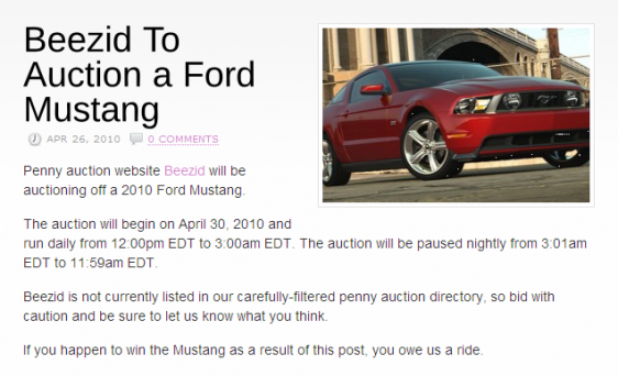 Beezid Ford Mustang Auction