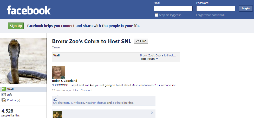 Bronx Zoo's Cobra - Facebook Page