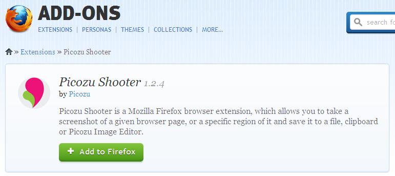 Firefox addon - Shooter